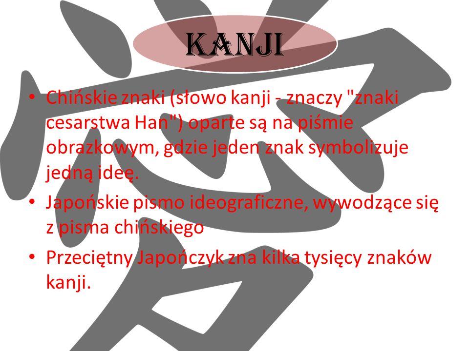 Kanji Chińskie znaki (słowo kanji - znaczy znaki cesarstwa Han ) oparte są na piśmie obrazkowym, gdzie jeden znak symbolizuje jedną ideę.