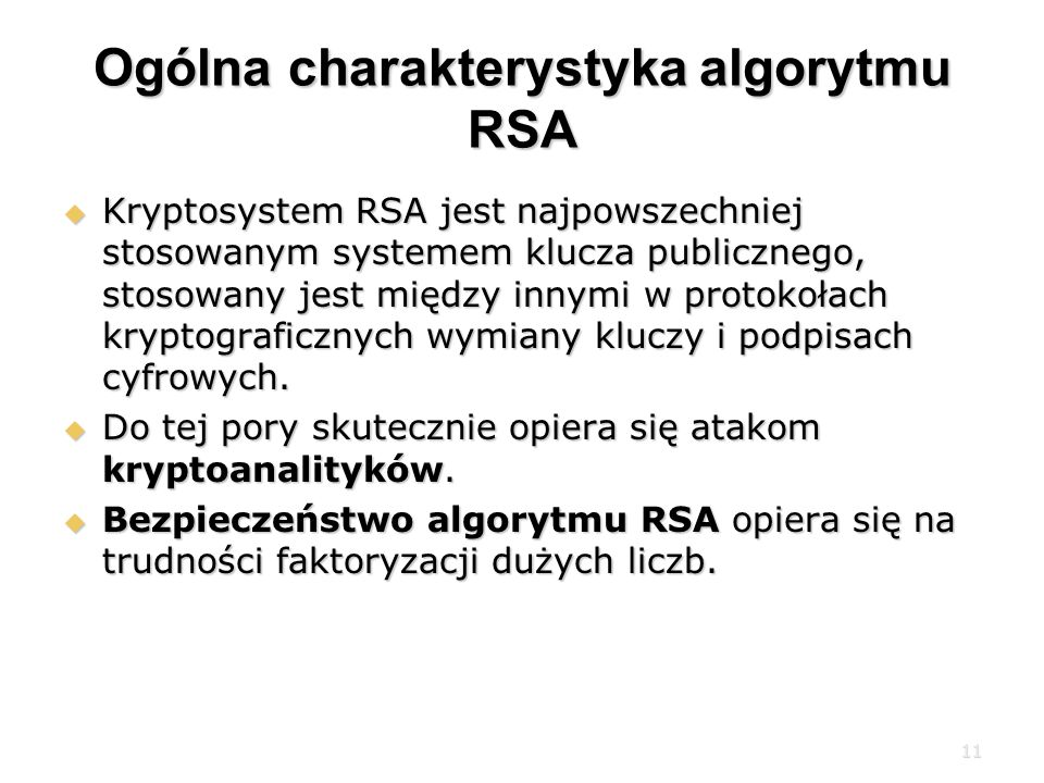 Ogólna charakterystyka algorytmu RSA