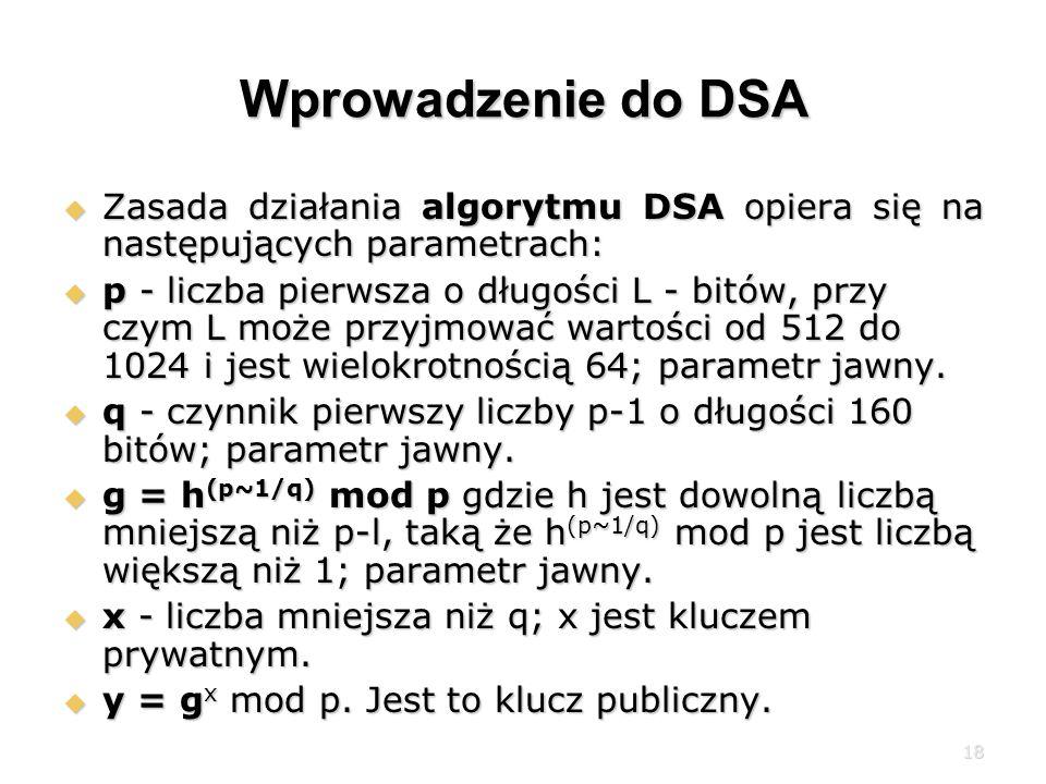 Wprowadzenie do DSA Zasada działania algorytmu DSA opiera się na następujących parametrach: