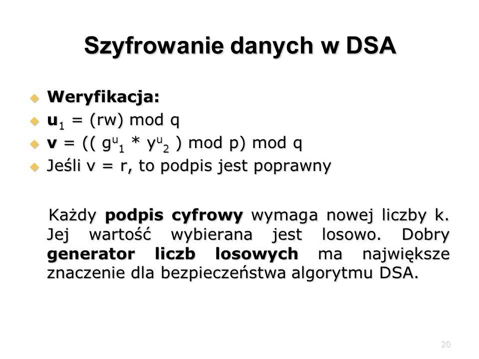 Szyfrowanie danych w DSA