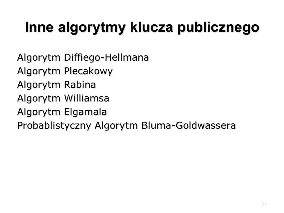 Inne algorytmy klucza publicznego