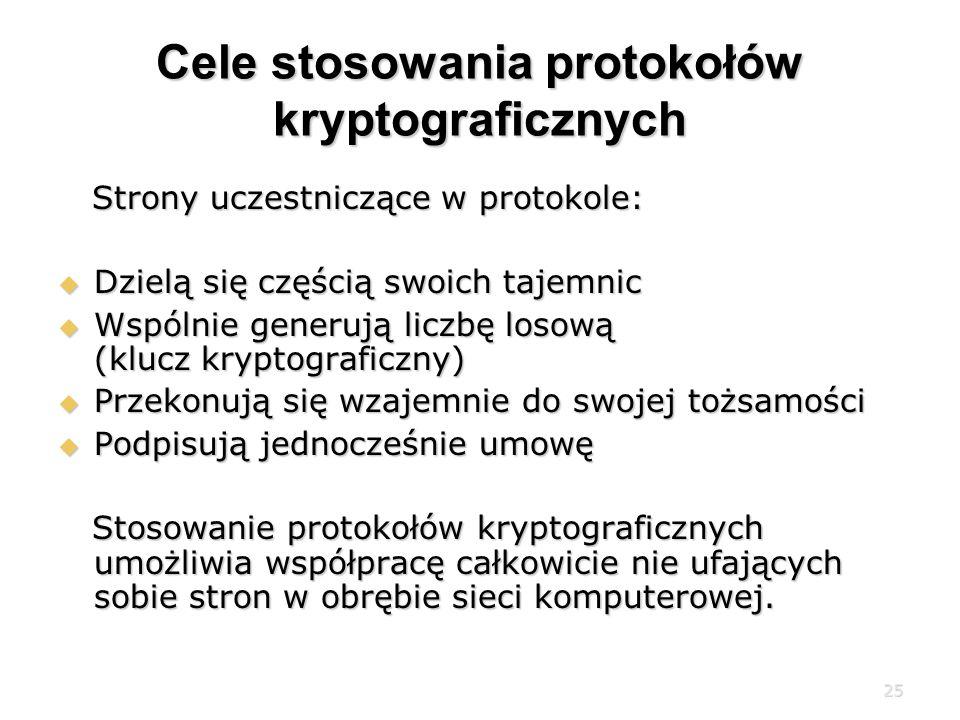 Cele stosowania protokołów kryptograficznych