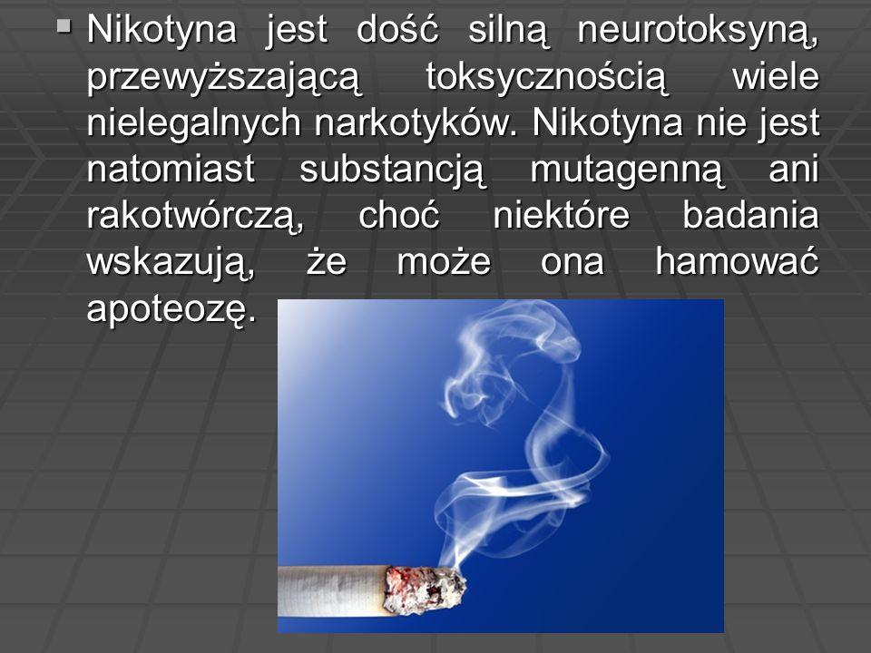 Nikotyna jest dość silną neurotoksyną, przewyższającą toksycznością wiele nielegalnych narkotyków.