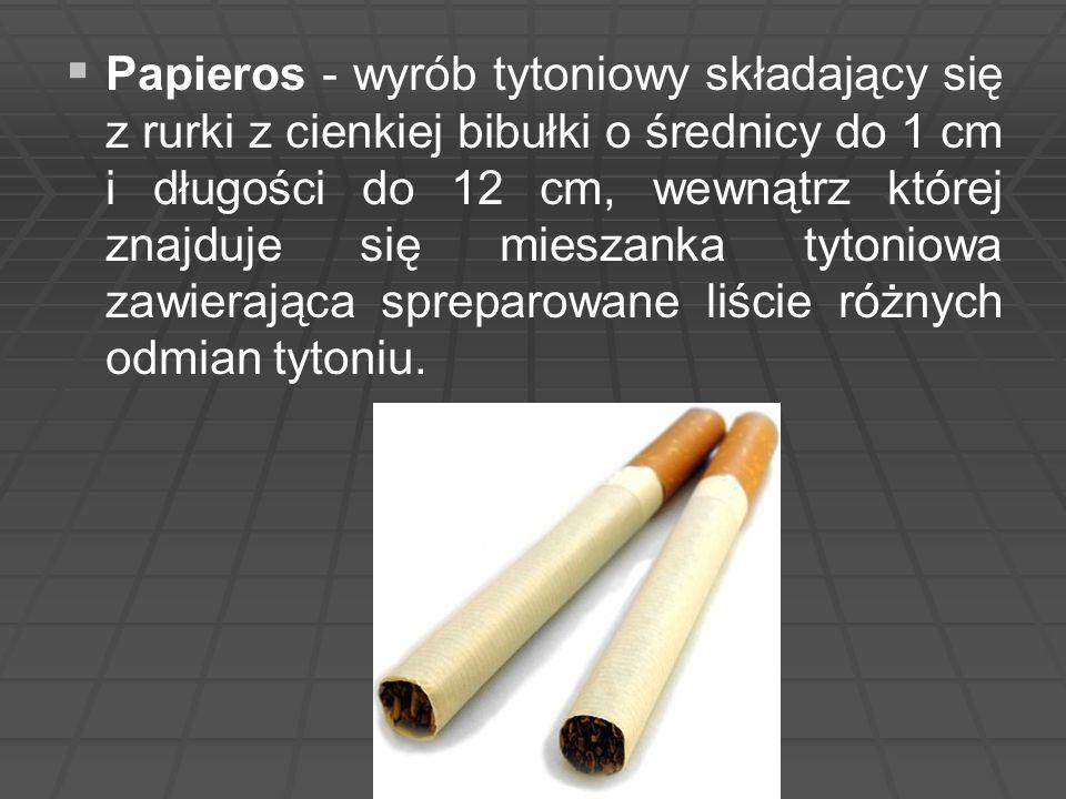 Papieros - wyrób tytoniowy składający się z rurki z cienkiej bibułki o średnicy do 1 cm i długości do 12 cm, wewnątrz której znajduje się mieszanka tytoniowa zawierająca spreparowane liście różnych odmian tytoniu.