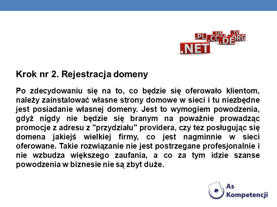 Krok nr 2. Rejestracja domeny