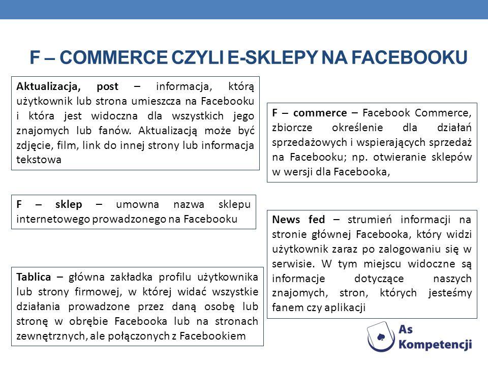 F – commerce czyli e-sklepy na facebooku