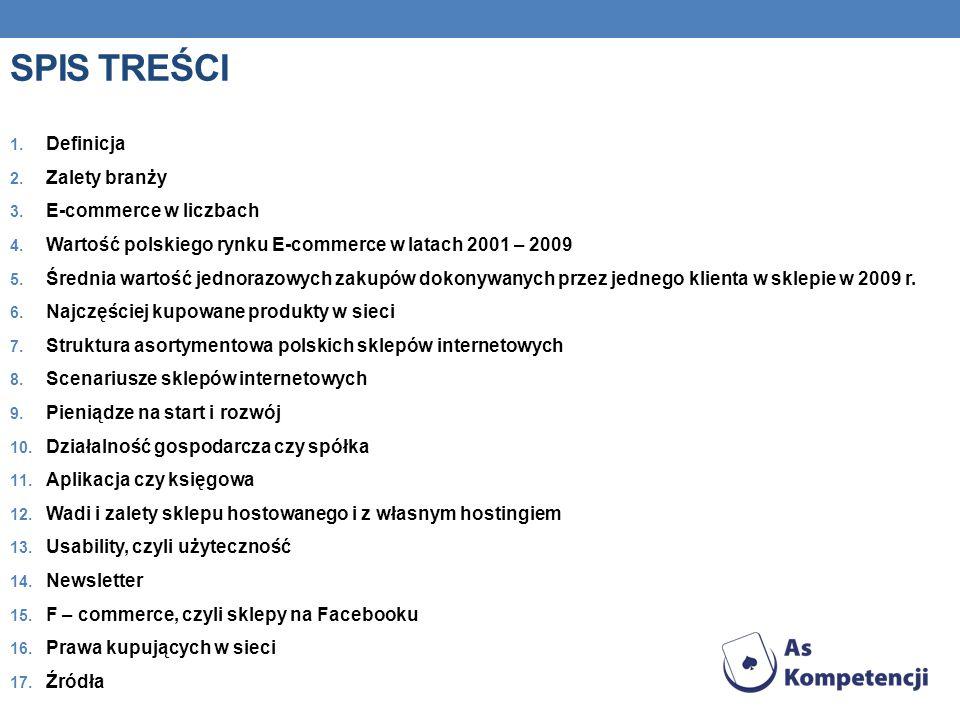 SPIS TREŚCI Definicja Zalety branży E-commerce w liczbach
