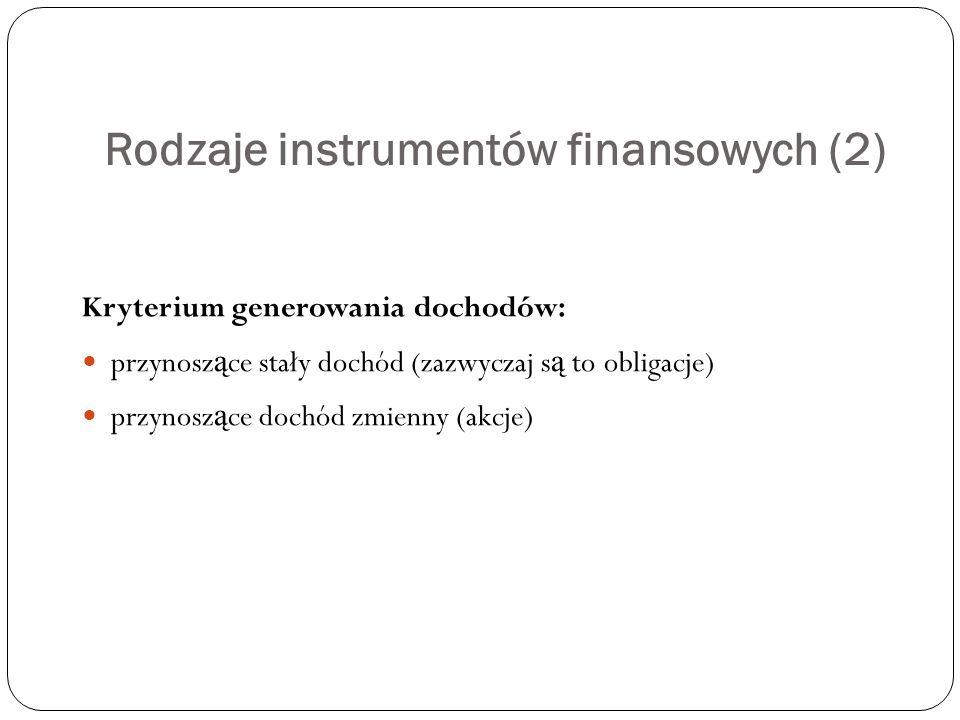 Rodzaje instrumentów finansowych (2)