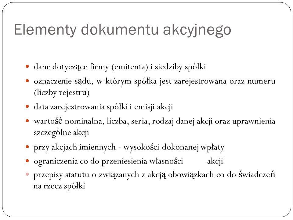 Elementy dokumentu akcyjnego
