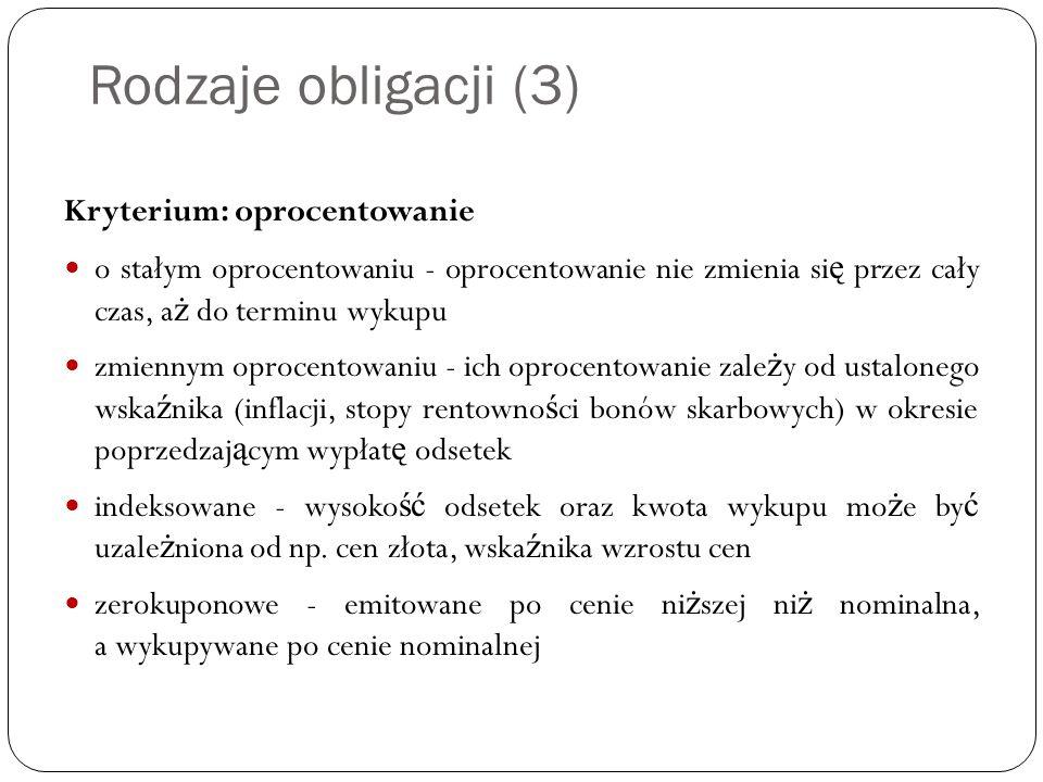 Rodzaje obligacji (3) Kryterium: oprocentowanie