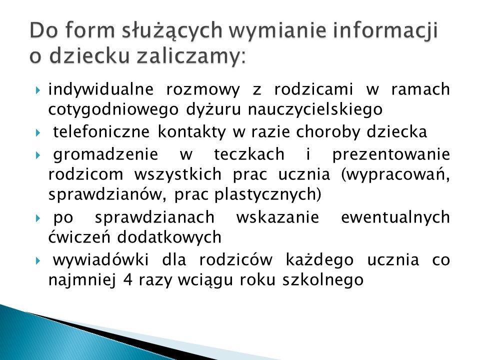 Do form służących wymianie informacji o dziecku zaliczamy: