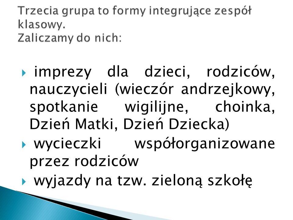 Trzecia grupa to formy integrujące zespół klasowy. Zaliczamy do nich: