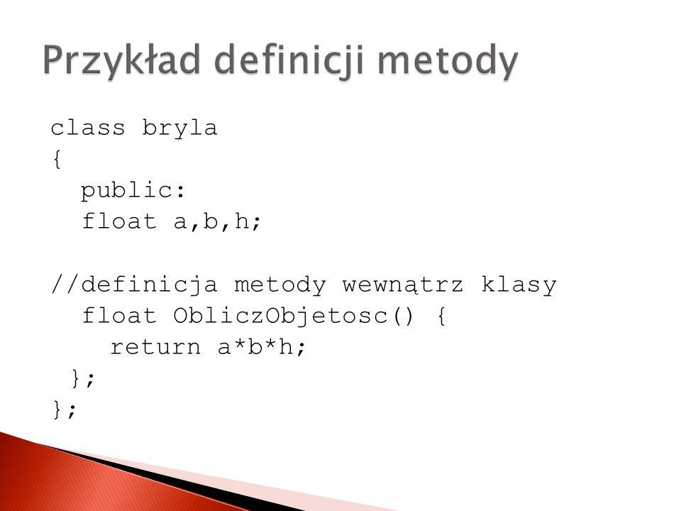 Przykład definicji metody