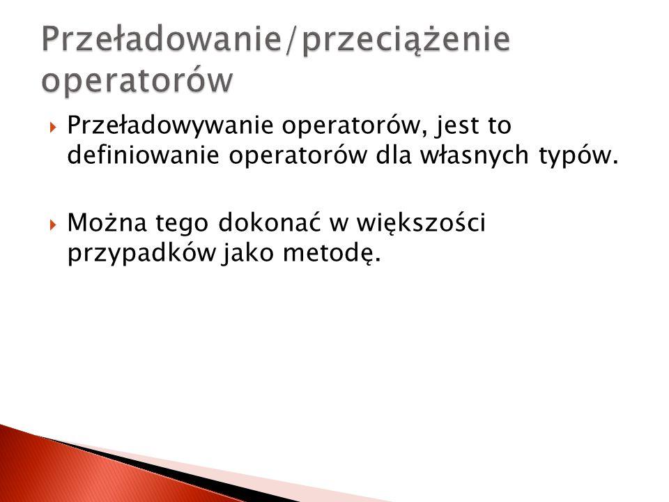 Przeładowanie/przeciążenie operatorów