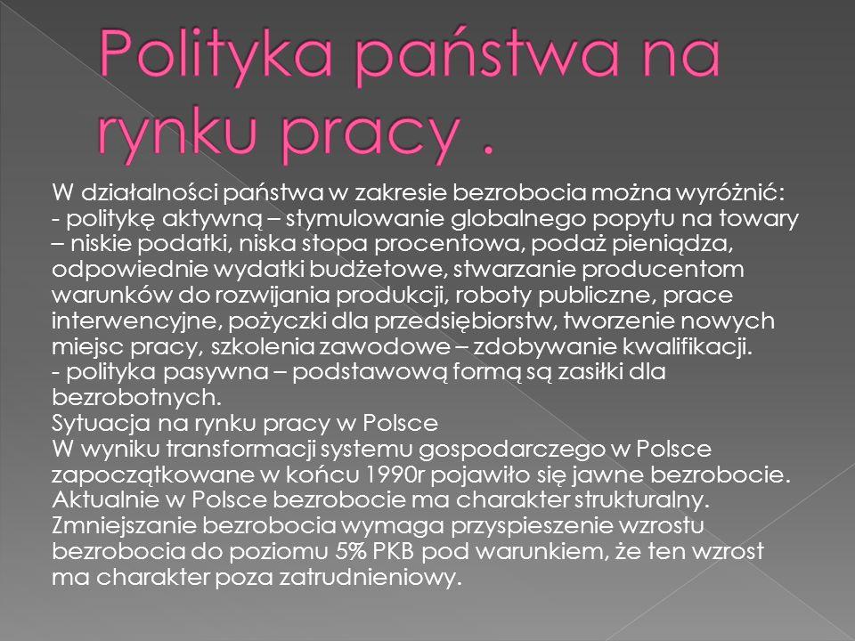 Polityka państwa na rynku pracy .