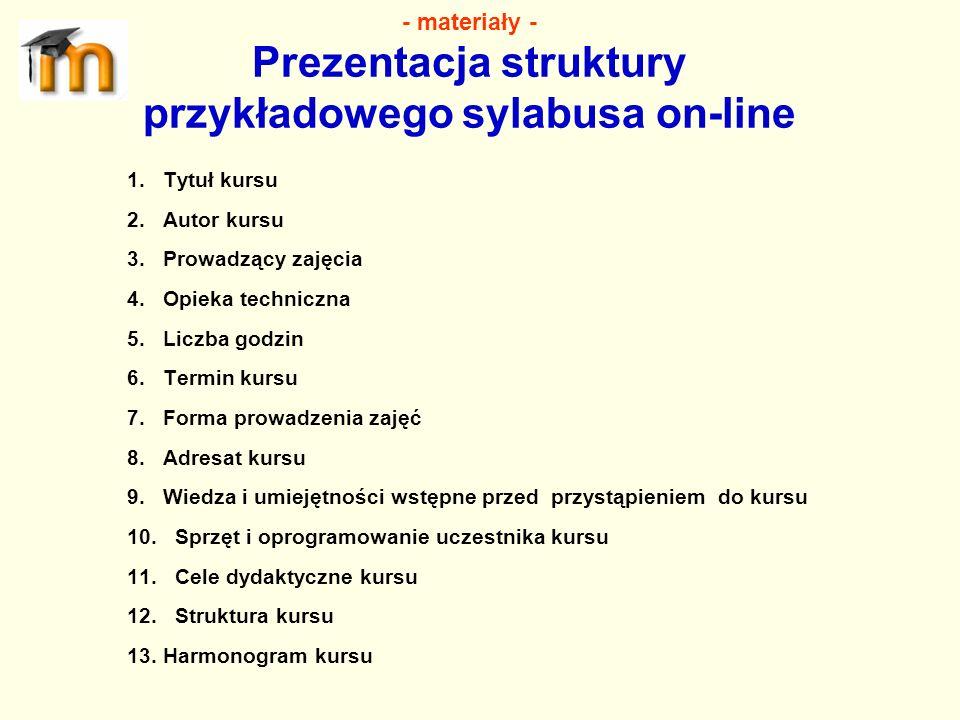 - materiały - Prezentacja struktury przykładowego sylabusa on-line