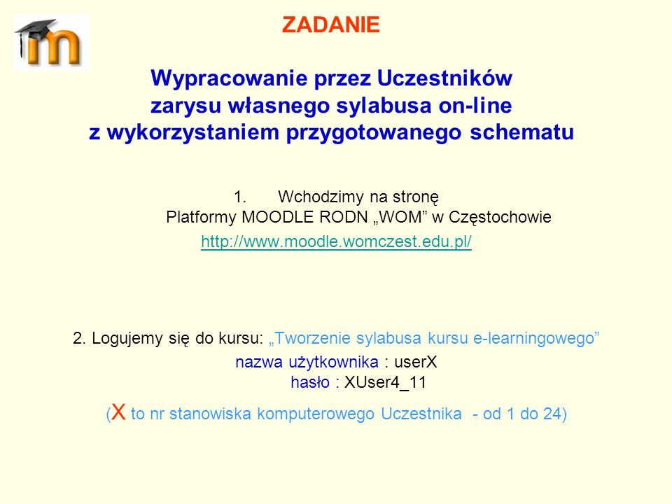 ZADANIE Wypracowanie przez Uczestników zarysu własnego sylabusa on-line z wykorzystaniem przygotowanego schematu
