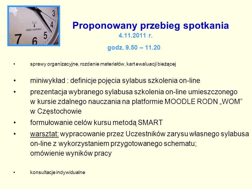Proponowany przebieg spotkania 4.11.2011 r. godz. 9.50 – 11.20