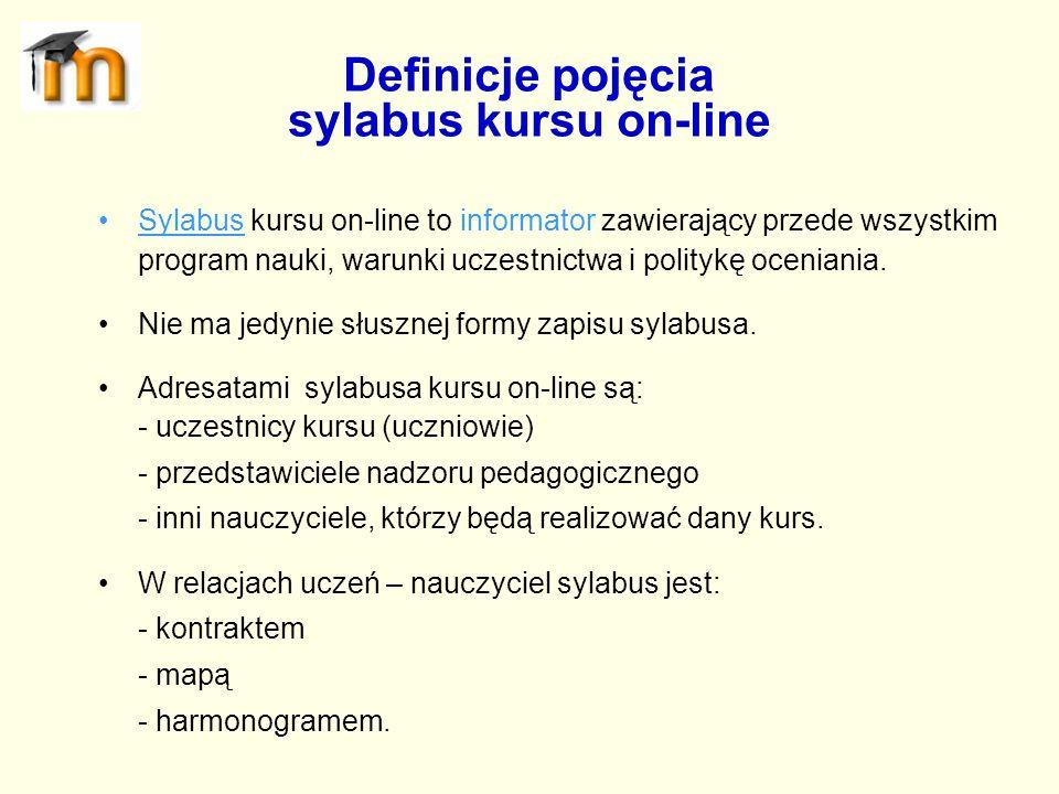 Definicje pojęcia sylabus kursu on-line