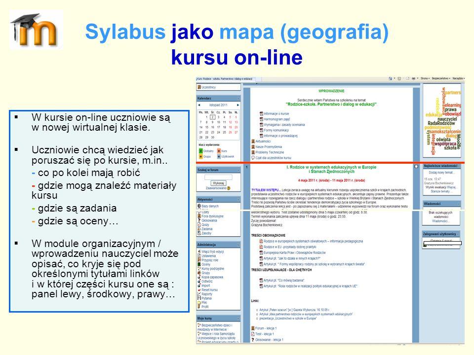 Sylabus jako mapa (geografia) kursu on-line