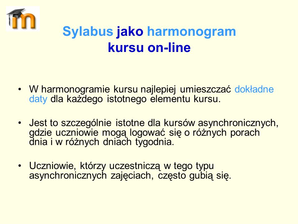 Sylabus jako harmonogram kursu on-line