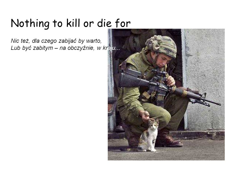 Nothing to kill or die for