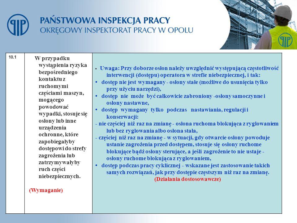 • dostęp wymagany tylko podczas nastawiania, regulacji i konserwacji: