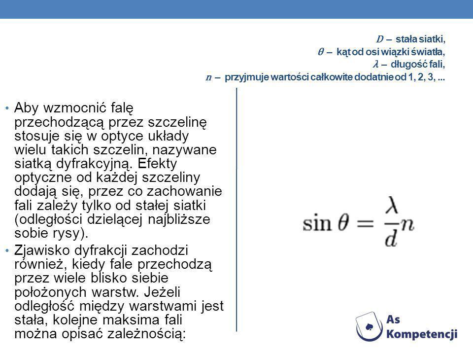 D – stała siatki, θ – kąt od osi wiązki światła, λ – długość fali, n – przyjmuje wartości całkowite dodatnie od 1, 2, 3, ...