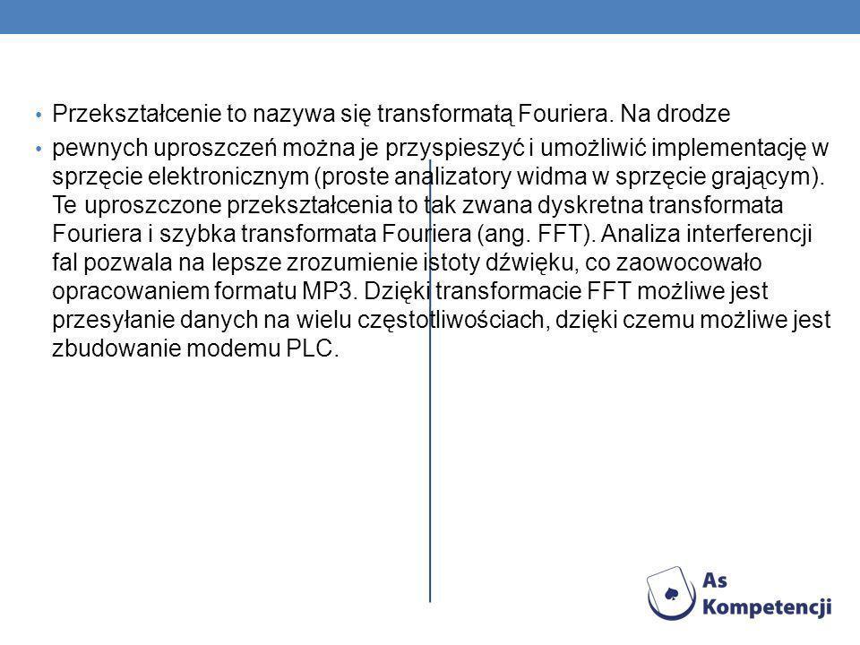 Przekształcenie to nazywa się transformatą Fouriera. Na drodze