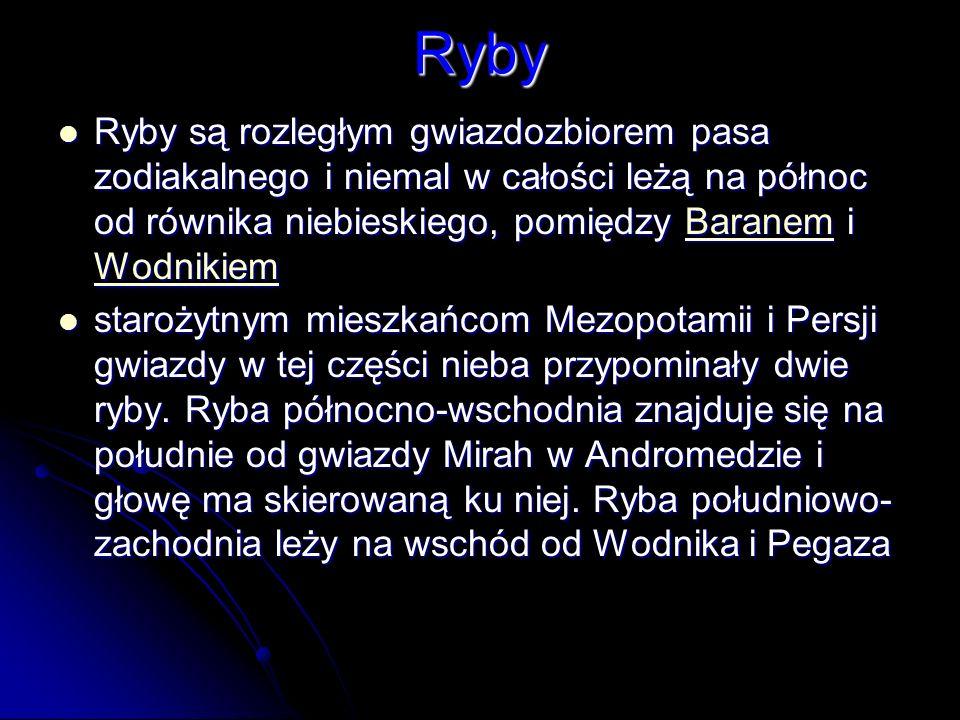 Ryby Ryby są rozległym gwiazdozbiorem pasa zodiakalnego i niemal w całości leżą na północ od równika niebieskiego, pomiędzy Baranem i Wodnikiem.