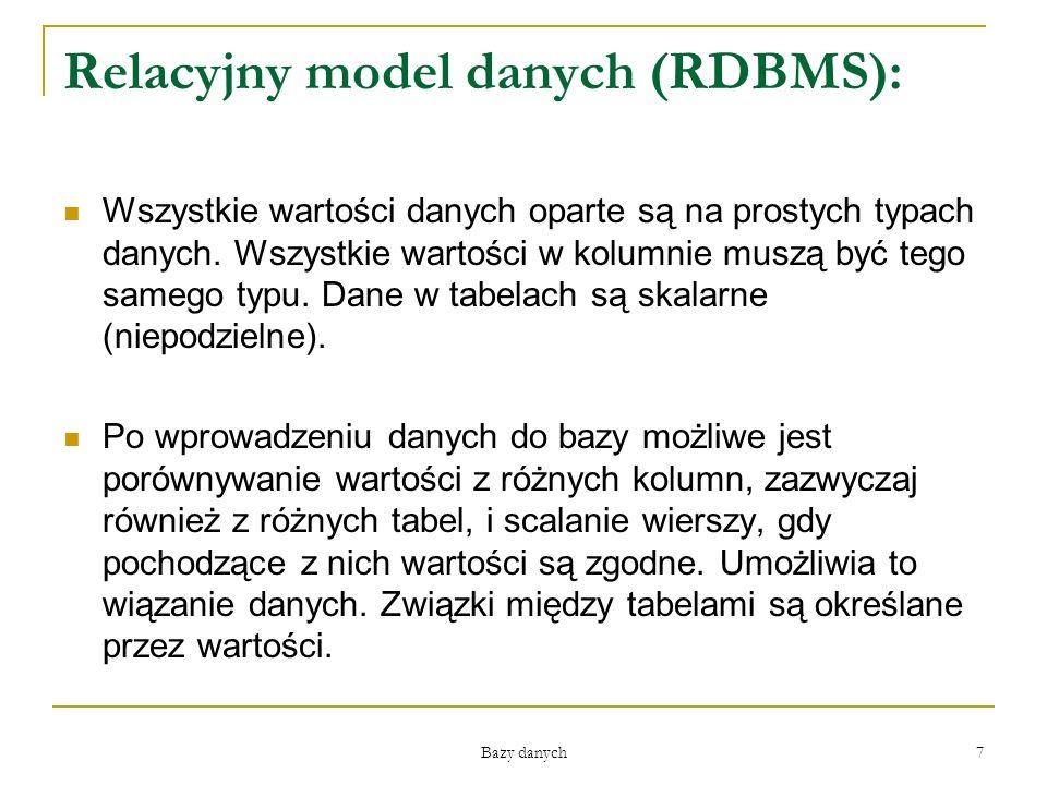 Relacyjny model danych (RDBMS):