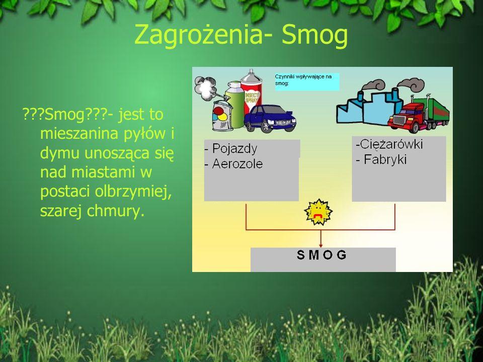 Zagrożenia- Smog Smog - jest to mieszanina pyłów i dymu unosząca się nad miastami w postaci olbrzymiej, szarej chmury.
