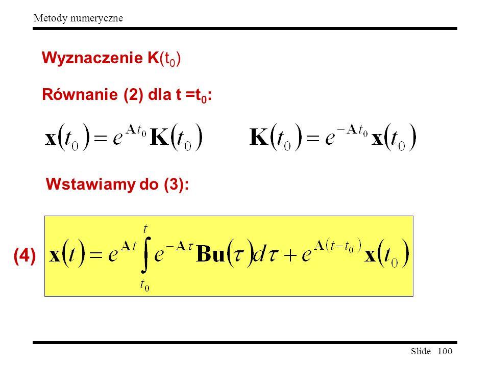 Wyznaczenie K(t0) Równanie (2) dla t =t0: Wstawiamy do (3): (4)