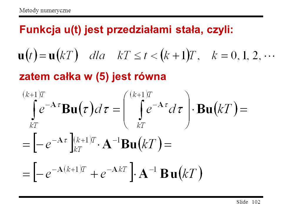 Funkcja u(t) jest przedziałami stała, czyli: