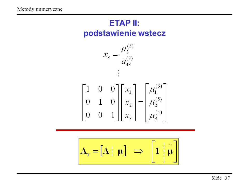 ETAP II: podstawienie wstecz