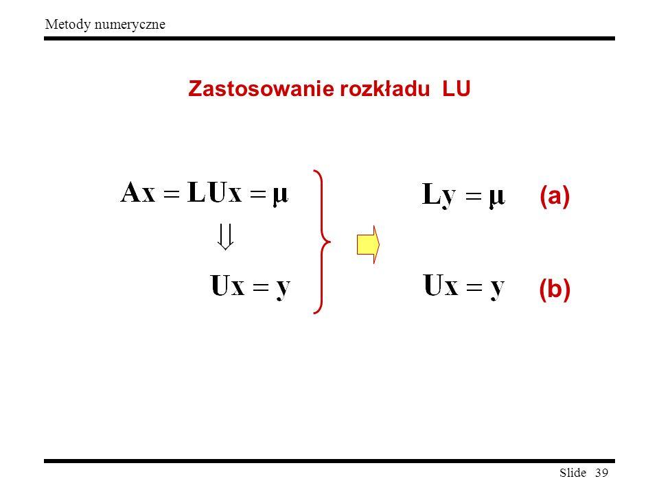 Zastosowanie rozkładu LU
