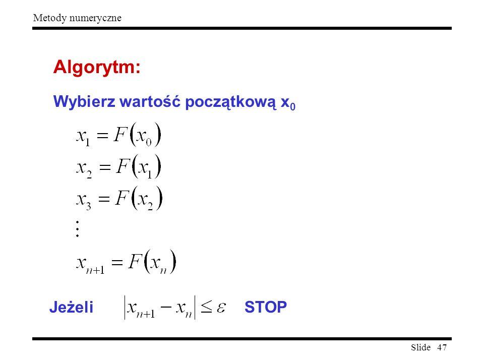 Algorytm: Wybierz wartość początkową x0 Jeżeli STOP
