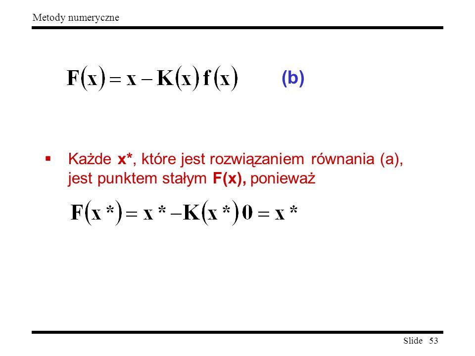 (b) Każde x*, które jest rozwiązaniem równania (a), jest punktem stałym F(x), ponieważ