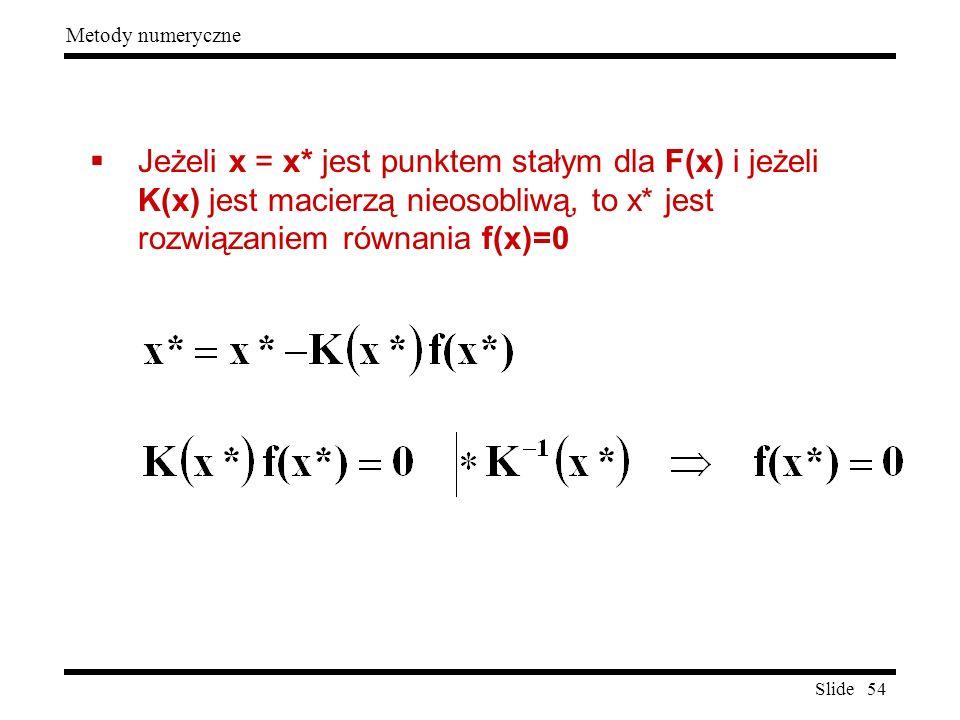 Jeżeli x = x* jest punktem stałym dla F(x) i jeżeli K(x) jest macierzą nieosobliwą, to x* jest rozwiązaniem równania f(x)=0
