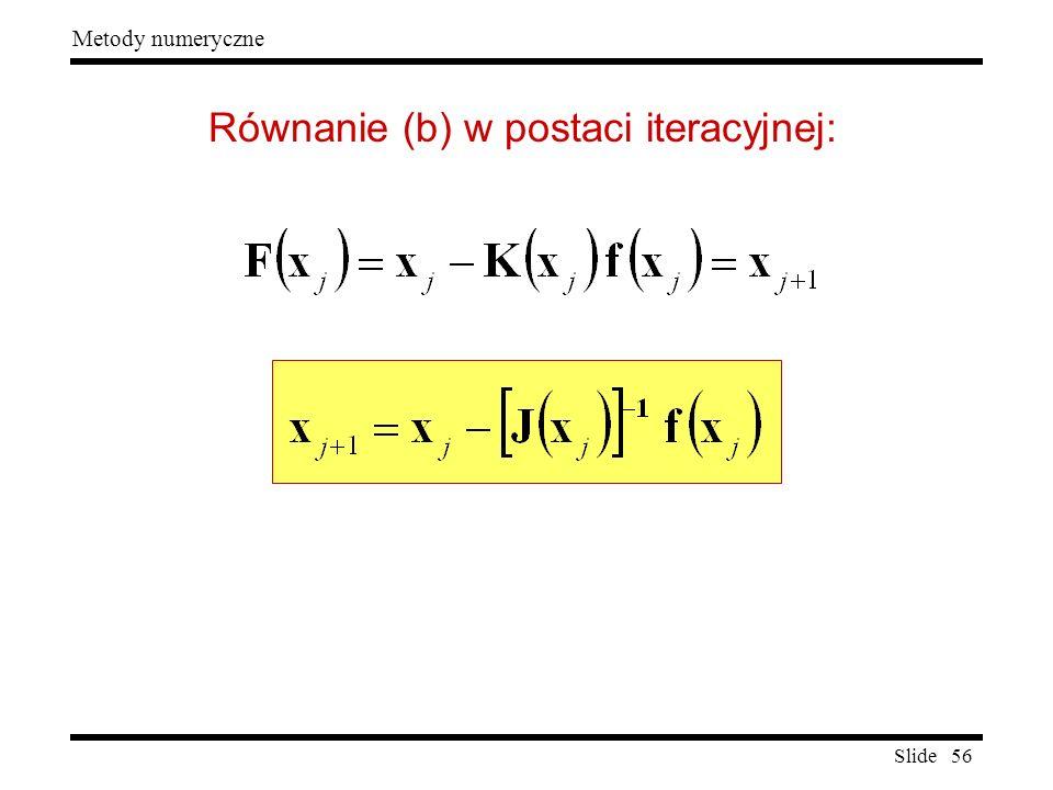 Równanie (b) w postaci iteracyjnej:
