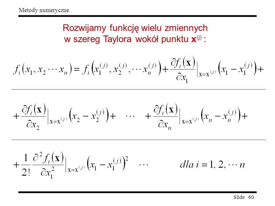 Rozwijamy funkcję wielu zmiennych w szereg Taylora wokół punktu x(j) :