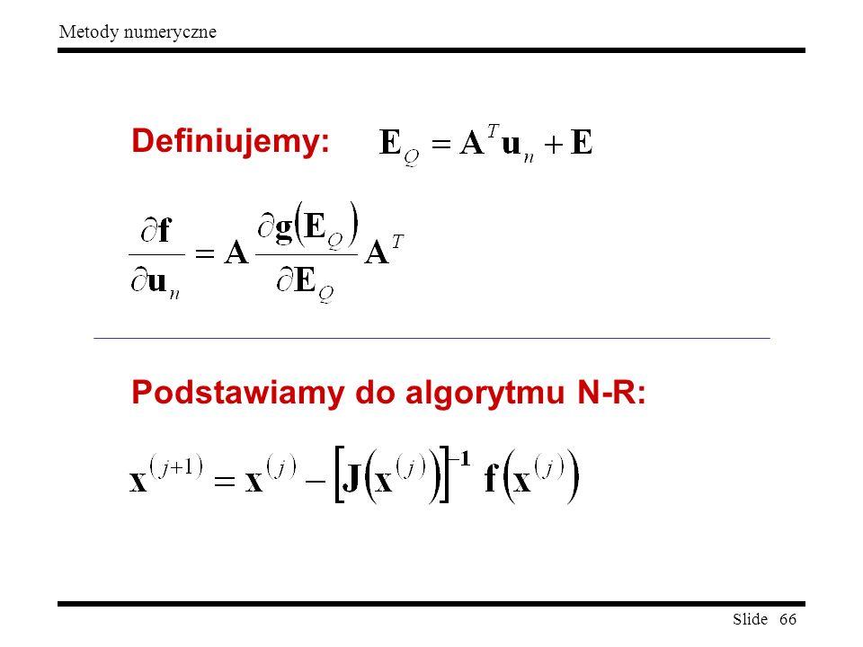 Definiujemy: Podstawiamy do algorytmu N-R: