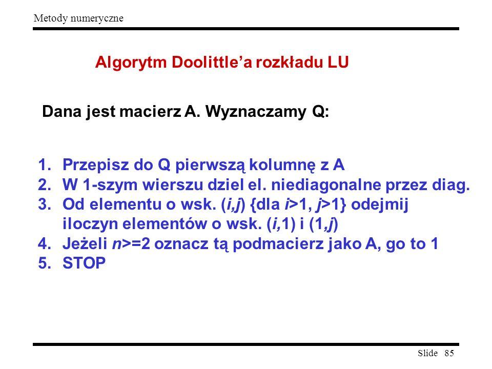 Algorytm Doolittle'a rozkładu LU