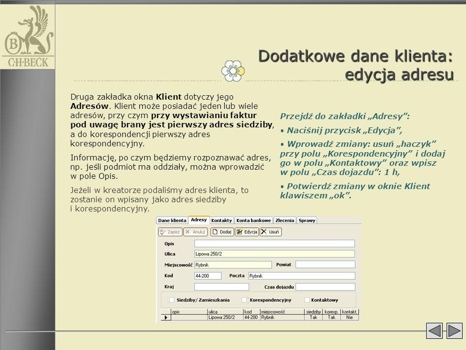 Dodatkowe dane klienta: edycja adresu