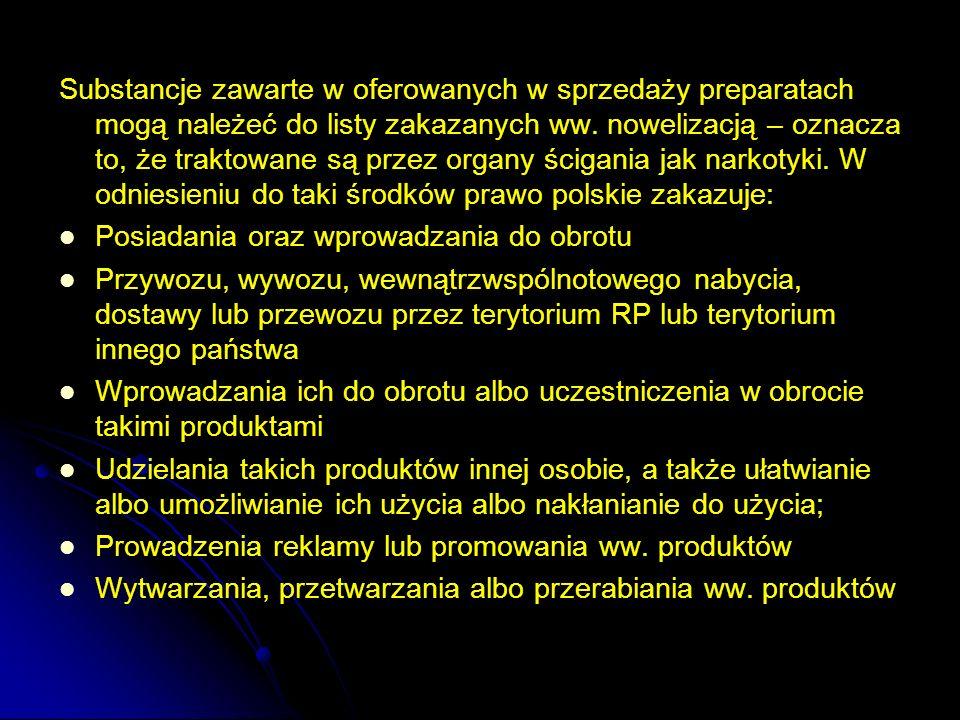 Substancje zawarte w oferowanych w sprzedaży preparatach mogą należeć do listy zakazanych ww. nowelizacją – oznacza to, że traktowane są przez organy ścigania jak narkotyki. W odniesieniu do taki środków prawo polskie zakazuje: