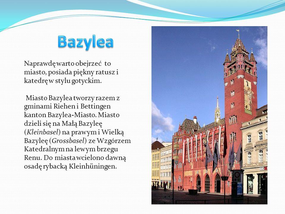 Bazylea Naprawdę warto obejrzeć to miasto, posiada piękny ratusz i katedrę w stylu gotyckim.