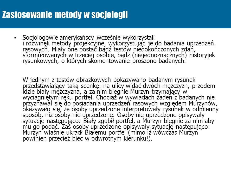 Zastosowanie metody w socjologii