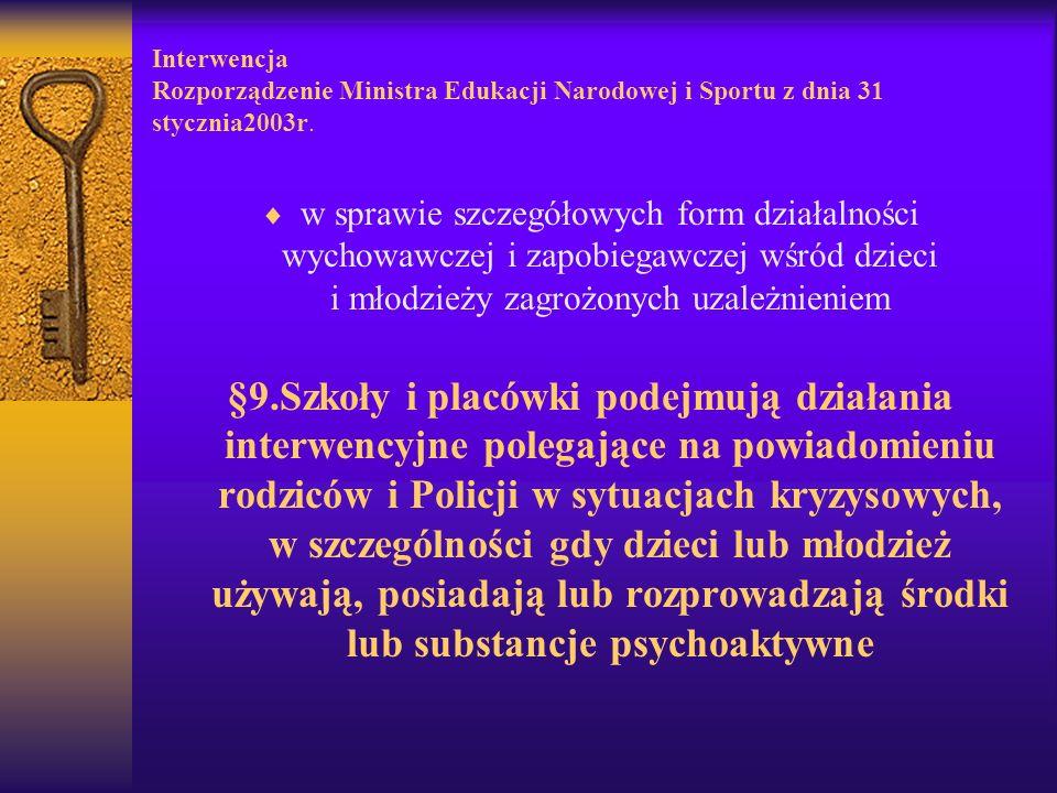 Interwencja Rozporządzenie Ministra Edukacji Narodowej i Sportu z dnia 31 stycznia2003r.