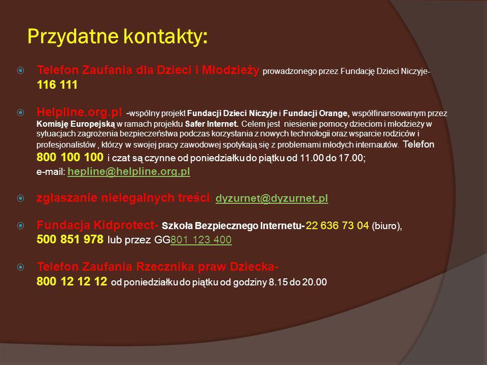 Przydatne kontakty:Telefon Zaufania dla Dzieci i Młodzieży prowadzonego przez Fundację Dzieci Niczyje- 116 111.