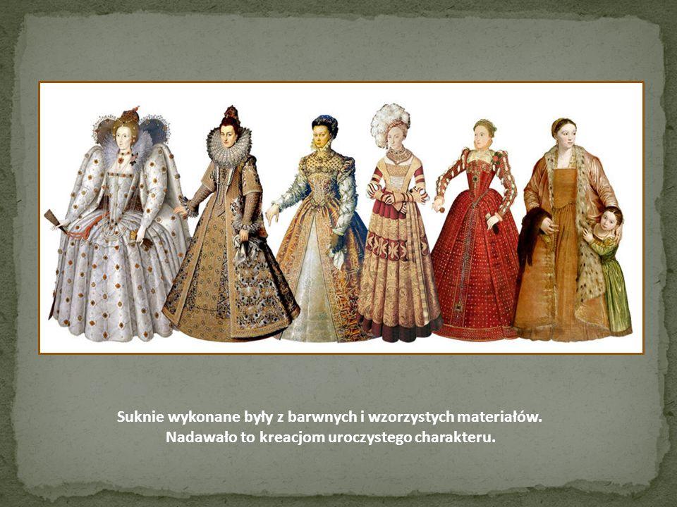 Suknie wykonane były z barwnych i wzorzystych materiałów